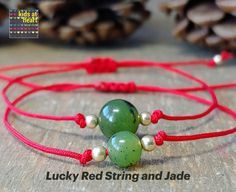 Red String Bracelet, AA Canadian Jade & Gold Filled Beads, Attract Luck and Prosperity with a Jade Bracelet Simple Bracelets, Wish Bracelets, Cord Bracelets, Red String Bracelet, Lava Bracelet, Bead Shop, Heart For Kids, Halloween Gifts, Jade