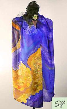 Silk Scarf Wrap, Purple Yellow, Hand Painted, Batik, Gift Birthday, Wearable art, Large Long, Gift Her Wife Girlfriend,Women Fashion Scarves by SilkFantazi on Etsy