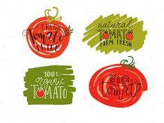 Tomato labels & Badges Set by Alps View Art on @creativework247