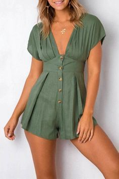 Chance Description of Girl Deep V Neck Sexy Female Playsuit Cotton Linen Boho Playsuit Shorts Jumpsuit Romper Bodysuit for Women 2019 Streetwear If You want to buy for Jumpsuits,+Playsuits+&+Bo… Short Playsuit, Short Jumpsuit, Beach Playsuit, Overall Shorts, Summer Outfits, Cute Outfits, Boho Fashion, Fashion Outfits, Rompers Women