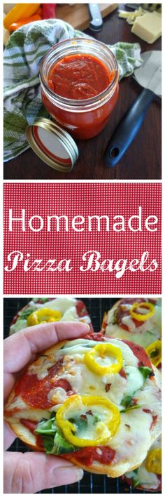 Homemade Pizza Sauce and Pizza Bagels are a perfectly quick way to have a delicious Pizza snack or lunch for the kids or even adults, ready in no time flat. Pizza Appetizers, Pizza Snacks, Crockpot Recipes, Snacks Recipes, Pizza Recipes, Sauce Recipes, Italian Spices, Buffalo Chicken, Quick Meals