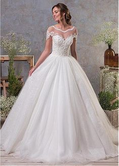Lace Wedding Dresses, Fascinating Tulle Scoop Neckline Ball Gown Wedding Dress With Beaded Lace Appliques, Find your personal style and the perfect wedding dress for your special wedding day Amelia Sposa Wedding Dress, Perfect Wedding Dress, Cheap Wedding Dress, Wedding Party Dresses, Bridal Dresses Online, Bridal Gowns, Ball Dresses, Ball Gowns, Tulle Wedding