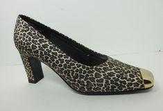 L. Chase Women's Leopard Print Gold Trim Pumps Heels Dress Shoes Size 8 M New #LChase #PumpsClassics #AnyOccasion