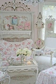 Pretty rosy shabby chic Living Room