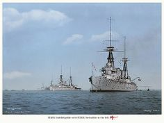 A rare photo of two of the victims of German guns at the battle of Jutland, HMS Invincible and HMS Indefatigable at anchor in more peaceful times.