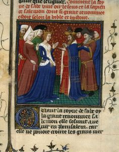 Solomon and the Queen of Sheba, Bible Historiale (BNF Fr. 9, fol. 159v), beginning of the 15th century: Like other royal women of the 15th century, she wears a sideless surcoat with ermine on the torso and around the arm-holes.