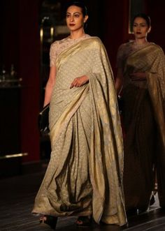 Model in grey saree for sabyasachi collection at Indian couture week July 2014