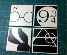 Harry Potter inspired coasters by InspireMeArtandGraph on Etsy