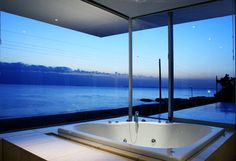 Glass creates tranquility, recessed lighting