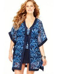 Avenue Plus Size Swirl Tie Front Cover Up