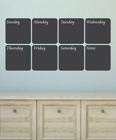 Look at this #zulilyfind! Classic Weekly Calendar Chalkboard Wall Decal Set #zulilyfinds