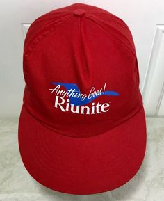 9823e9f87806a Details about Vintage Riunite Promo Hat Anything Goes Snapback Cap Wine  Italy Lambrusco Adver