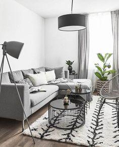 Furniture - Living Room: Shades of Gray! Gray is a neutral Furniture – Living Room : Shades of Grey! Grau ist eine neutrale Farbe, die sich meist in vornehmer Zurüc… – Decor Object Living Room Grey, Living Room Interior, Living Room Furniture, Apartment Interior, Modern Furniture, Black White And Grey Living Room, Furniture Design, Rustic Furniture, Ikea Interior