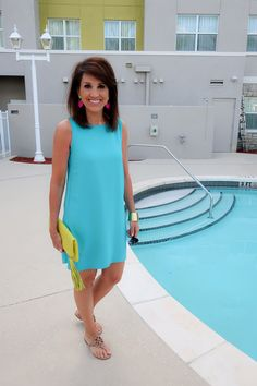 I love colorful dresses, and this turquoise tank dress does not disappoint. The dress has an A-line cut with partial lining. The color is beautiful, and it's easy to dress up or dress down. Source by kaarinaverill Dresses for spring Turquoise Dress Outfit, Turquoise Clothes, Turquoise Fashion, Turquoise Outfits, Spring Outfits Women Casual, Summer Dress Outfits, Casual Summer Dresses, Weekend Dresses, Summer Clothes