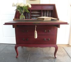 Annie sloan burgundy with dark wax_ .....I wanttoget inner compartments made for my red secretary.