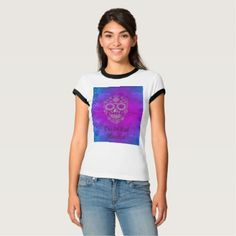 Blue & Purple Sugar Skull/Day of the Dead T Shirt - Halloween happyhalloween festival party holiday