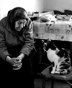 ... (by Oksana Leshchenko), Old lady, Kitty, cat, friends, love, Photo