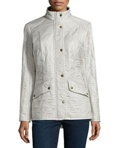 Long-Sleeve Snap-Front Quilted Jacket, Pearl  by Barbour at Neiman Marcus.