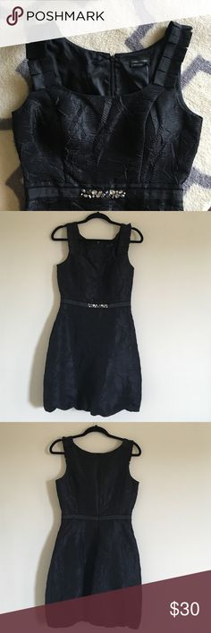 Little Black Dress from Max and Cleo crinkled fabric; beaded waistband; cinched waist, fitted; tank like neckline with detailed pleated shoulder; bubbled skirt - Textured. Zipper does get stuck at the waist but after a jimmy... The dress zips up fine Max & Cleo Dresses
