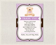 Free Printable Thank You Card For Baby Shower Gifts Pin Now For