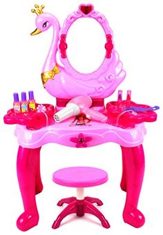 Dress-Up Toy Vanities - Beauty Swan Dresser Pretend Play Battery Operated Toy Beauty Mirror Vanity Play Set w Flashing Lights Music Accessories ** Want additional info? Click on the image.