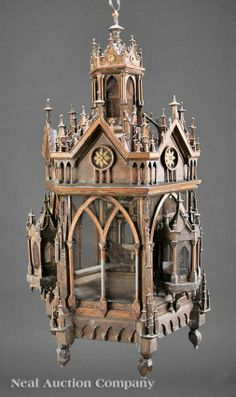 An American Gothic Patinated Metal Hanging Birdcage - mid-19th century
