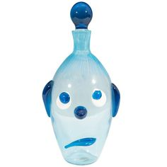Italian Mid-Century Fratelli Toso Sad Dog Decanter in Blue Murano Glass | From a unique collection of antique and modern barware at https://www.1stdibs.com/furniture/dining-entertaining/barware/