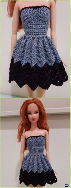Crochet Barbie Strapless Chevron Dress Free Pattern -Crochet Doll Clothes Outfits Free Patterns
