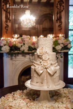 Vintage Wedding Cake with Lace and a Sugar Bow, Southern Event Planners, Memphis Weddings