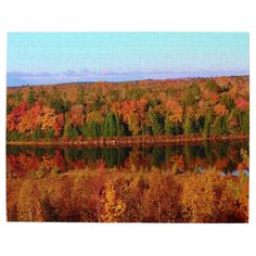 Mt. Katahdin Surrounding Autumn Scenery Photo Puzzle by KJacksonPhotography --  Taken 10.12.2014 Salmon Stream Lake surrounded by the colorful canopy of autumn leaves of the forest just below Mt. Katahdin - brilliant dazzling reds,oranges and golds. The lake beautifully reflects the kaleidoscope of colors of this fall's vivid hues. From the I95 scenic turnout, mile marker 252 in Maine.PC:244.285 #nature #photography #autumn #mtkatahdin #puzzle #puzzles