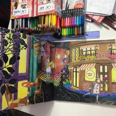 """""""Mix with color pencil, marker & watercolor pencil... #amilyshen #xứsởdiệukỳ #amilycolorfulwonderland #colleen #kuulox #adultcoloringbook…"""""""