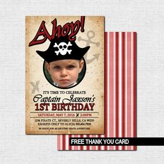 PIRATE PARTY INVITATIONS (printable files) +  Free Thank Card - by nowanorris on Etsy