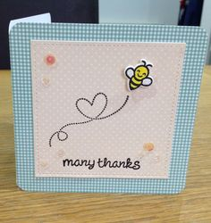 """Lawn Fawn """"Bugs and Kisses"""" stamp and Doodlebug paper. Sequins and heat embossed sentiment. Simple but so sweet."""