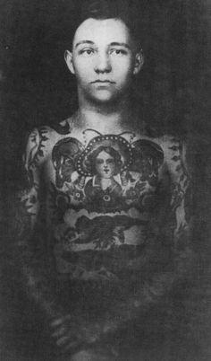 hockey-teeth: Tattooed by Bert Grimm 1918 Old Tattoos, Time Tattoos, Vintage Tattoos, Old Sparky, Bert Grimm, Tooth Tattoo, Picture Tattoos, Tattoo Pics, Tattoo Art