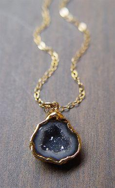 Black Geode Druzy Necklace