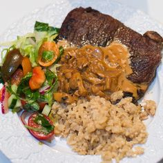Ryggbiff med blomotto (Risotto lchf) och champinjonsås Lchf, Keto, Risotto, Low Carb Recipes, Steak, Grains, Curry, Food, Inspiration