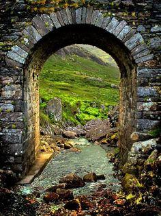 Door to Ireland (walking up towards Healy Pass near Adrigole, West County Cork, Ireland)-- Love. Looks like a magic portal to a beautiful land Places To Travel, Places To See, Portal, West Cork, Ireland Travel, Cork Ireland, Ireland Vacation, Galway Ireland, Secret Gardens