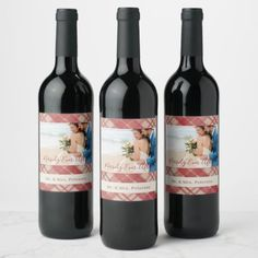 Wedding couple photo elegant Merrily Ever After Wine Label