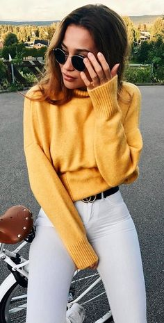 #fall #outfits women's yellow sweater with white jeans