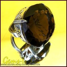 26+ GM/132+ CT SMOKY QUARTZ 925 STERLING SILVER RING NEW~AUTHENTIC HAND CRAFTED