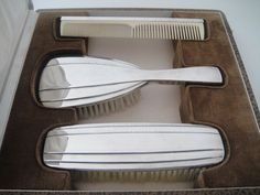 RAR! 3-teiliges ART DECO Toilettengarnitur 950 Silber Frankreich Toilettenset          125-170e
