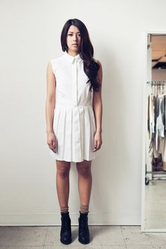 LeilanniLand Pleated Denim Dress (M) White.
