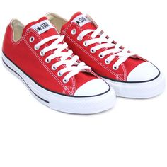 CONVERSE Red Allstar Ox ($55) ❤ liked on Polyvore featuring shoes, sneakers, converse, zapatos, sapatos, converse sneakers, red shoes, converse shoes, red sneakers and red trainer