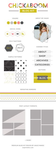 Modern Blog Graphics Kit With Logo, About Me Image, and Pattern Elements. Perfect to Make Your Blog Shine! angiemakes.com