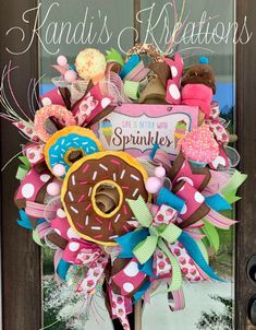 Excited to share this item from my shop: Life is better with sprinkles summer wreath, spring wreath , summer decorations , party decorations , sweet treat decorations Christmas Mesh Wreaths, Easter Wreaths, Deco Mesh Wreaths, Birthday Wreaths, Yarn Wreaths, Floral Wreaths, Candy Wreath, Diy Wreath, Tulle Wreath