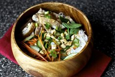 peanut lime rice noodles with chicken by smitten kitchen :: tip - saute the fresh veggies and serve hot! Asian Recipes, Real Food Recipes, Chicken Recipes, Healthy Recipes, Ethnic Recipes, Cold Noodles, Rice Noodles, Yummy Noodles, Drunken Noodles