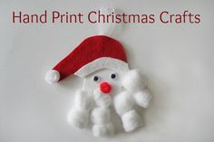 Hand Print Santa Crafts - a bunch of ideas, and they make the perfect last minute gifts for Grandparents!