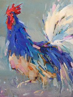 Blue Rooster by kathleen broaderick Oil ~ 12 x 9