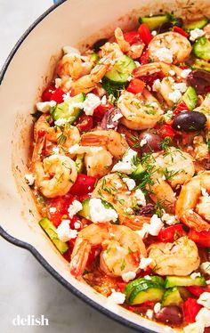 Shrimp will be your healthiest obsession. Get the recipe at . Greek Shrimp will be your healthiest obsession. Get the recipe at . Shrimp Dishes, Shrimp Recipes, Fish Recipes, Pasta Dishes, Salad Recipes, Easy Cooking, Cooking Recipes, Healthy Recipes, Keto Recipes