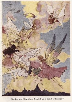 Behind the Ship there Floated up a Band of Fairies - The Cradle Ship by Edith Howes, 1916